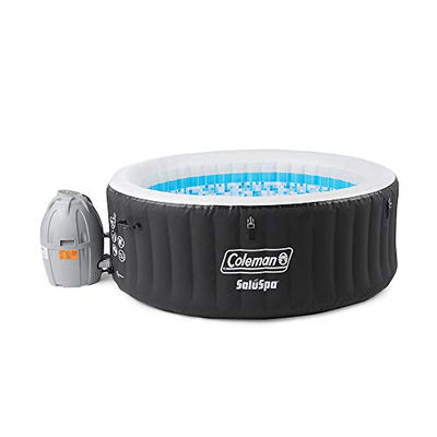 Coleman 13804-BW SaluSpa 4 Person Portable Inflatable Outdoor Round Hot Tub Spa with 60 Air Jets, Tub Cover, Pump, Chemical Floater, and 2 Filter Cartridges, Black