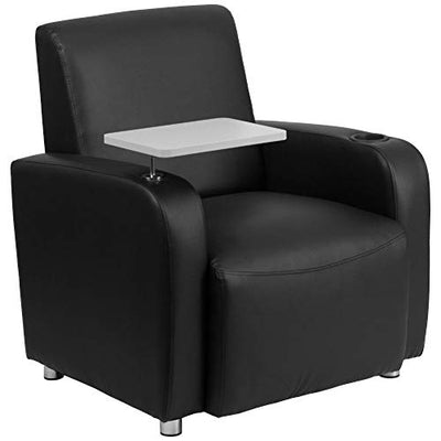 Flash Furniture Black LeatherSoft Guest Chair with Tablet Arm, Chrome Legs and Cup Holder