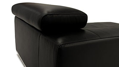 Zuri Furniture Wynn Black Leather Sectional Sofa with Adjustable Headrests - Right Chaise