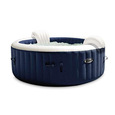 Intex 28429E PureSpa Plus 4 Person Outdoor Portable Inflatable Round Heated Hot Tub Spa with 140 Bubble Jets, LED Lights, and Built-in Heater Pump, Navy