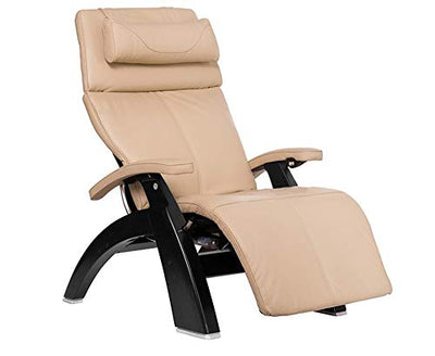 Perfect Chair Human Touch PC-420 Classic Manual Plus Series 2 Black Matte Wood Base Zero-Gravity Recliner - Ivory Premium Leather - in-Home White Glove Delivery