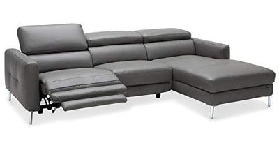 Zuri Furniture Modern Grey Leather Reno Sectional with Armchair and Power Recliner Seat - Right Chaise