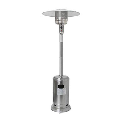 UpdateClassic Stainless Steel Propane Patio Heater with Wheels and Table Large,48000 BTU Floorstanding Liquid Propane Patio Heater (Silver)