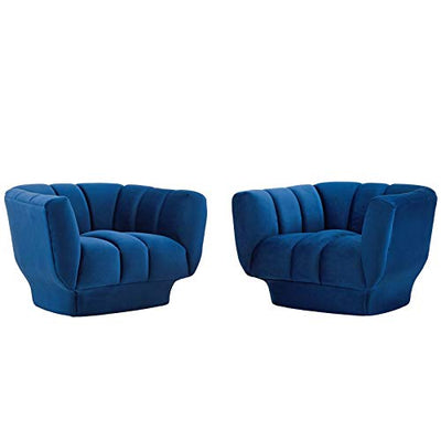 Modway Entertain Vertical Channel Tufted Performance Velvet Armchair Set of 2, Navy