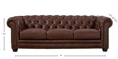 Hydeline Aliso 100% Full Top Grain Waxy Leather Sofa and Loveseat Set, Cognac Brown