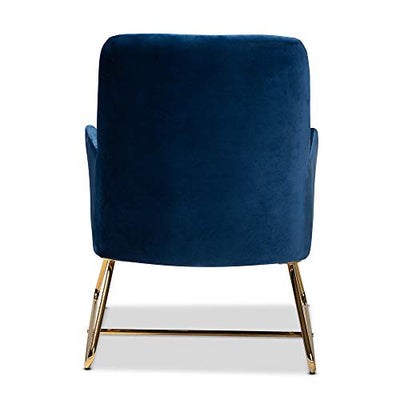 Baxton Studio Chairs, Navy Blue/Gold