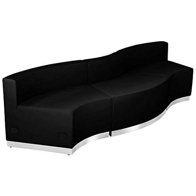 "Flash Furniture Black Leather Recep Set, 3 PC, 101"" W x 25.25""-27.50"" D x 27"" H"