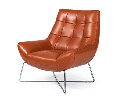 Limari Home Imari Collection Modern Style Living Room Full Leather Lounge Chair With Polished Stainless Steel Base, orange