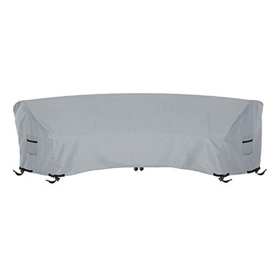 Curved Sofa Cover 18 Oz Waterproof - 100% UV & Weather Resistant Customize Outdoor Sofa Cover with Air Pockets and Drawstring with Snug Fit (Tuff Grey,)