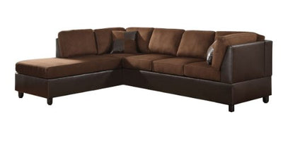 Homelegance Comfort Living Sectional Collection with 2 Pillows, Chocolate Rhino Microfiber and Dark Brown Faux Leather