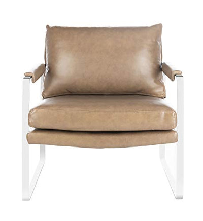 Safavieh Couture Home Esposito Dark Brown Leather and Silver Accent Chair