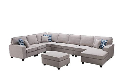 Lilola Home Irma Light Gray Linen 8Pc Modular Sectional Sofa Chaise and Ottoman