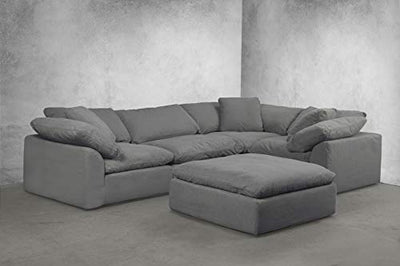 Sunset Trading Cloud Puff 5 Piece Modular Performance Gray Sectional Slipcovered Sofa, Grey