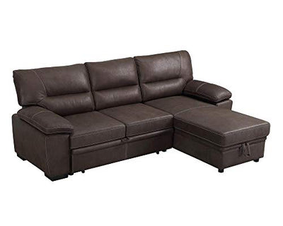 Lilola Home Kipling Microfiber Reversible Sleeper Sectional Sofa Saddle Brown