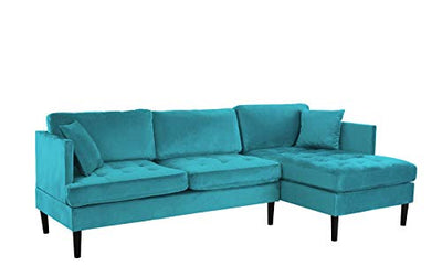 Mid Century Modern Tufted Velvet Sectional Sofa, L-Shape Couch (Blue)