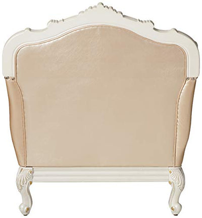 ACME Chantelle Rose Gold and Pearl White Chair with 1 Pillow