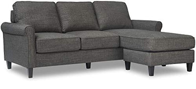 Serta Harmon Reversible Sectional Sofa Living Room, Modern L-Shaped 3 Seat Fabric Couch, Rolled Arm, Gray