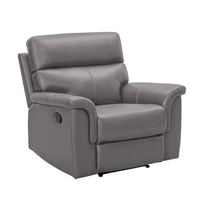 Abbyson Living Premium Top Grain Leather Upholstered Manual Reclining Armchair, Grey