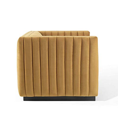 Modway Conjure Channel Tufted Performance Velvet Accent Armchair, Cognac