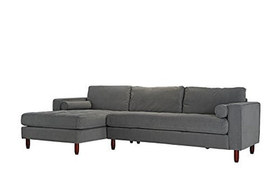 Divano Roma Furniture Mid-Century Modern Tufted Velvet Sectional Sofa, L-Shape Couch with Extra Wide Chaise Lounge (Grey), Large