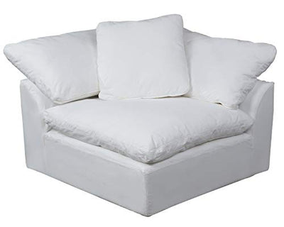 Sunset Trading Cloud Puff 5 Piece Modular Performance White Sectional Slipcovered Sofa,