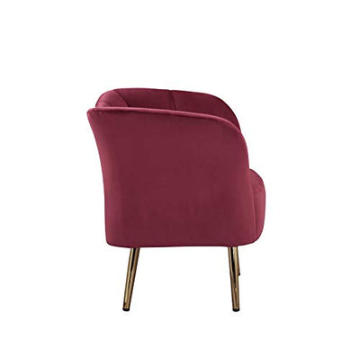 Acme Furniture Reese Accent Chair, Burgundy Velvet & Gold