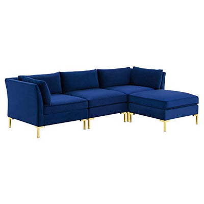 Modway Ardent 4-Piece Performance Velvet Sectional Sofa, Navy