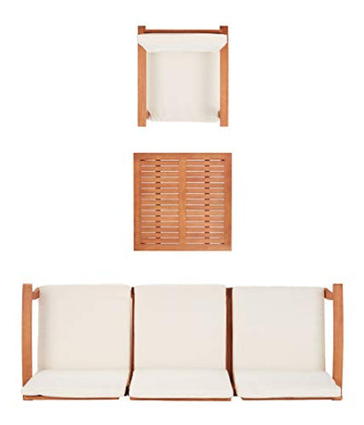 Safavieh PAT7069A Collection Parcer Natural and Beige 4-Piece Patio Outdoor Set