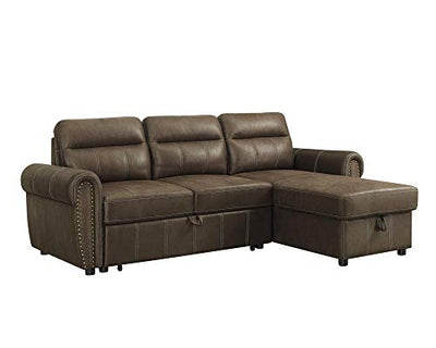 LILOLA Ashton Saddle Brown Microfiber Reversible Sleeper Sectional