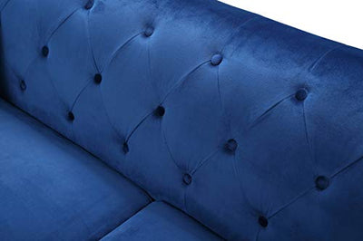 "Glory Furniture Pompano Sofa, Navy Blue. Living Room Furniture, 31"" H x 83"" W x 34"" D"