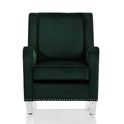 CosmoLiving by Cosmopolitan Nixon Modern Velvet Fabric Upholstered Accent Chair with Nailhead Trim and Acrylic Legs, Green