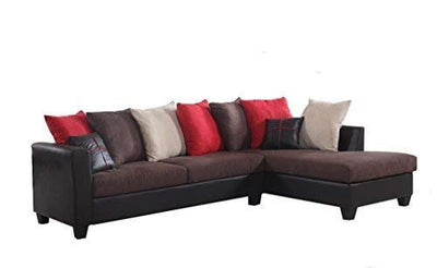 REALONE Fabric and Faux Leather Sectional Sofa and Chaise, Chocolate Brown Couch with Red, Beige and Brown Accent Pillows