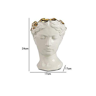 Greek Style Planter, Classical Greek Sculpture Female Head Ceramic vase Resin Statue for Home Garden Decor-Milky 17x17x24cm (7x7x9 inch)