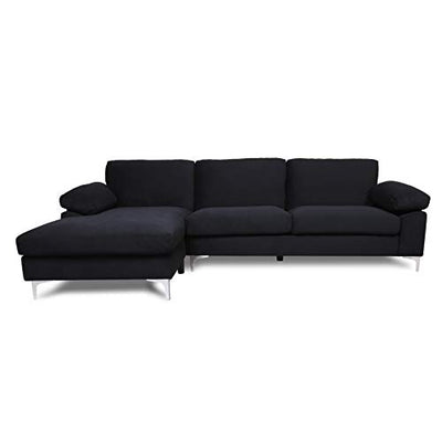Velvet Sleeper Sectional Sofa - AiChuangHome SC051Modern Futon Tufted Chaise Couch with Metal Legs, Left Hand Facing L-Shaped Couch for Living Room