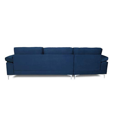 Artiron Left Facing Sectional Sofa for Living Room Modern Large Velvet Fabric Sectional Sofa 3 Seat L Shaped Couch (Navy Blue)