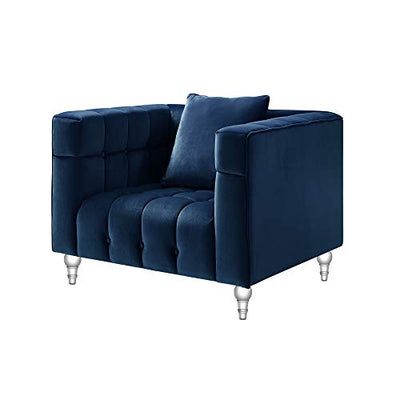 Inspired Home Velvet Accent Chair - Biscuit Club Chair Navy Blue Accent Chair Tufted Chair for Room with Lucite Legs, Angelo, Navy
