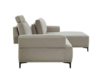 Modern Sectional Lucca Sectional Sofa with Push Back Functional, Right Facing Beige Color