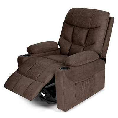 Healthy Relaxing Comfortable Electric Lift Power Recliner Heated Vibration Massage Chair Recliner Sofa Chair Brown, Body Relaxing Ergonomic Principle Support Design, Smooth, Whisper-Quiet Lift