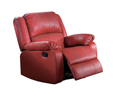 ACME Zuriel Red Faux Leather Rocker Recliner