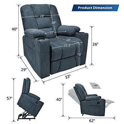 Maxxprime Upgraded Electric Power Lift Recliner Chair Sofa for Elderly, Comfortable, Premium Thickened Fabric, 3 Positions, 2 Side Pockets & Cup Holders, Dual USB Ports (Midnight Blue)