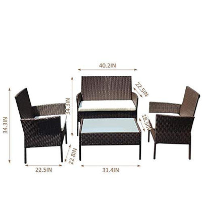 Wall lamp 208 Outdoor Patio Garden Faux Wicker Rattan Chair Conversation Set 4 Pieces Backyard Conversation Bistro with Tempered Glass Coffee Table for Yard, Poo