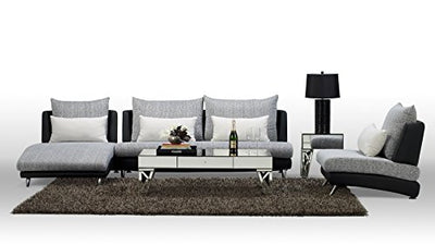 Zuri Black Palms Fabric Sectional Sofa - Chaise