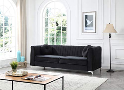 Glory Furniture Delray Sofa, Black. Living Room Furniture, 3 Seater