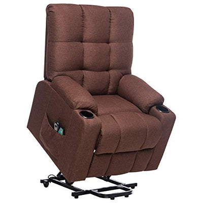 ULTIFIT Power Lift Recliner Chair Single Sofa with 8 Point Vibration Massage & Heat for Elderly, Middle-Aged Fabric Sofa for Living Room Bedroom Chair with Side Pockets Cup Holder Brown