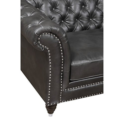 Emerald Home Capone Charcoal Accent Chair with Faux Leather Upholstery, Nailhead Trim, And Rolled Arms