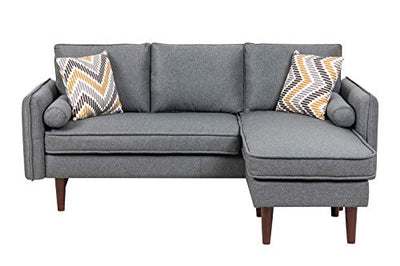 Lilola Home Mia Contemporary Modern Gray Linen Fabric Padded Upholstered Couch Sectional Sofa Chaise with USB Charger Phone Charging Port Dock Station Mid-Century Modern Style Solid Wood Legs
