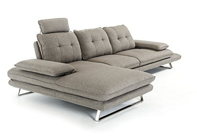Limari Home Cody Collection Modern Living Room Fabric Upholstered Sectional Sofa, Grey