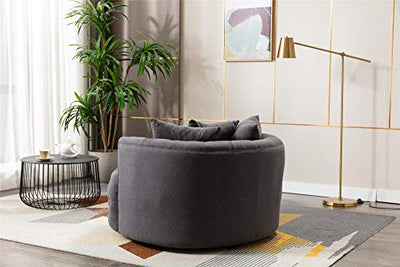 ZFRANC Modern Swivel Accent Chair Barrel Chair Rotating Wheels Velvet Fabric Barrel Chair for Hotel Living Room/Modern Leisure Chair Grey