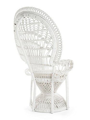 KOUBOO Pecock Grand Peacock Chair in Rattan with Seat Cushion, White, Large