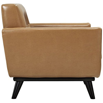 Modway Engage Mid-Century Modern Leather Upholstered Accent Arm Lounge Chair in Tan